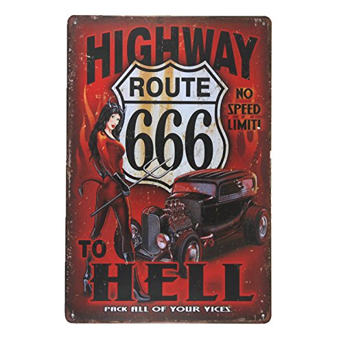 dingleiever-Highway to Hell Metal Signs Vintage Crosses Wall Sticker pin up Poster House Rules Wall Art Decor