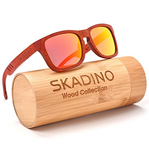 SKADINO Wood Sunglasses for Women&Men with Polarized lenses-Handmade Floating Wood Shades-Red Rose with Red Mirror - The On Ray Are Amazon Bans Real
