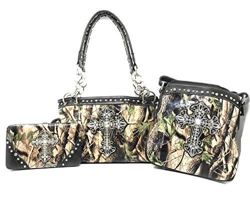 Premium Rhinestone Camouflage Cross Leather Women's Handbag Purse Messenger Bag Wallet 3 Piece Set Collection Multi-Color (Black) ()