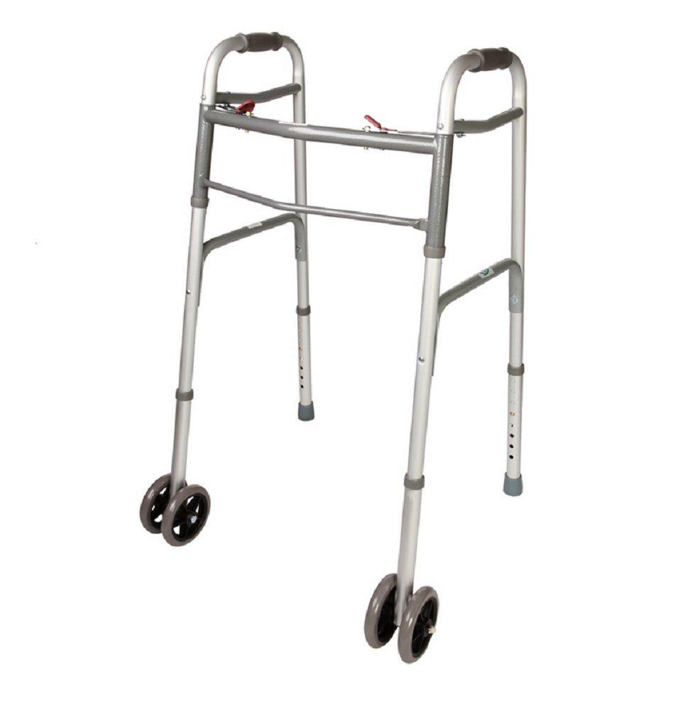 WALKER FOLDING DELUXE 2 BUTTON FRONT WHEELS / NO WHEELS / HEAVY DUTY BARIATRIC / JUNIOR JR. CHILD WALKERS (W / WHEELS) by AmGood