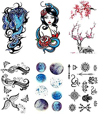 Oottati 6 Hojas Pequeño Lindo Tatuaje Temporal Tattoo Blue Snake ...