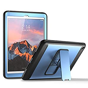 New iPad 2017 9.7 inch Case, YOUMAKER Heavy Duty Kickstand Shockproof Protective Case Cover for Apple New iPad 9.7 inch (2017 Version) with Built-in Screen Protector (Blue/Black)