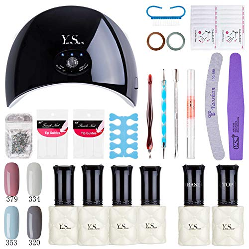 - Yao Shun Gel Polish Soak Off Nail Gel UV Gel Starter Kit with 24W LED Nail Lamp Base Top Coat Set and Manicure Tools Nail Art Home Use Kit#3