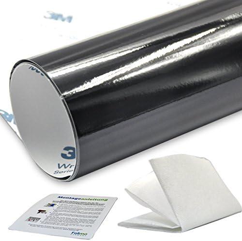 (43,84€/m²) Auto Folie [ 3M Oracal Folmo ] Glanz Schwarz Streifen + ultrafeines Microfasertuch [ 30cm x 150cm ] Car Wrap Folie in Premium Qualität mit LUFTKANAL (3M 1080-G12 (43,84€/m²))