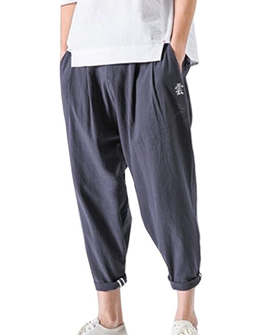 Pantalones De Lino Hombre Bordado Pantalones Harem Suelto Pantalones Anchos Respirable Tallas Grandes dHD0MML7q4