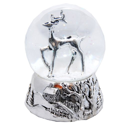 20040 snow globe deer silver base 140mm height with music box