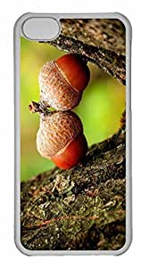 iPhone 5C Case, Personalized Custom Two Acorns Close Up for iPhone 5C PC Clear Case