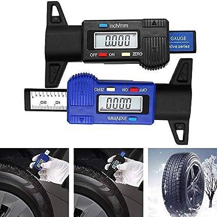 farbe: schwarz Digitale Auto Reifenprofiltiefenmesser 0-25mm Reifenprofiltiefenmesser Meter Messwerkzeug Messschieber LCD Display Reifenmessung