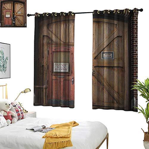 (Warm Family Door Curtain Zombie,Monsters Behind Wooden Door Demon Halloween Holiday Fear Fantasy Picture, Umber Chestnut Brown 72