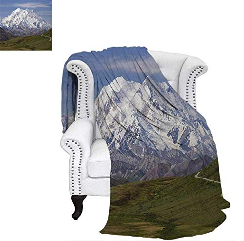 Custom Design Cozy Flannel Blanket McKinley Mountain in Denali National Park in Alaska Scenic Landscape Weave Pattern Blanket 90