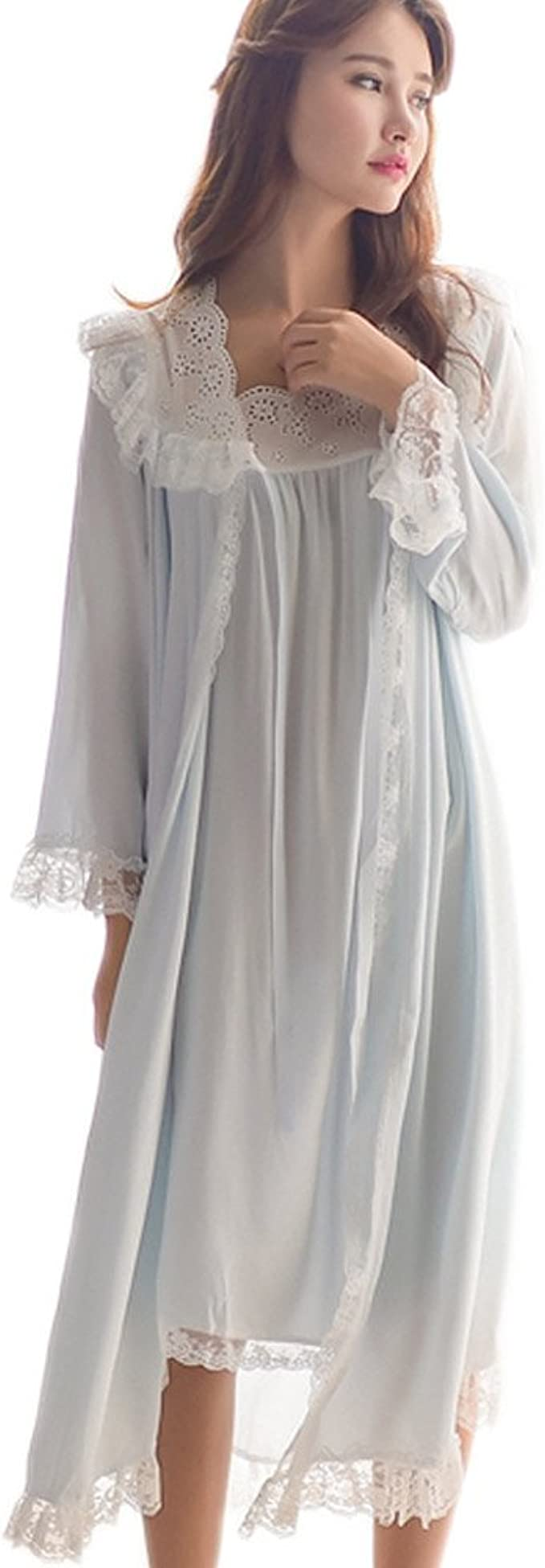 1920s Style Underwear, Lingerie, Nightgowns, Pajamas Womens Victorian Nightgown Vintage 2 pcs Sleepwear Nightdress Robes Royal Pajamas Lounge Wear $34.99 AT vintagedancer.com