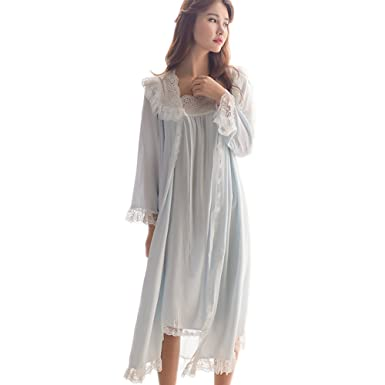Womens Victorian Nightgown Vintage 2 Pcs Sleepwear Nightdress Robes Royal Pajamas Lounge Wear (Blue)