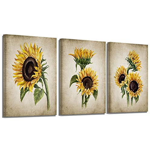 Sunflower Kitchen Decor Simple Life Rustic Wall Decor Vintage Watercolor Sunflower Wall Pictures for Bedroom 3 Pieces…