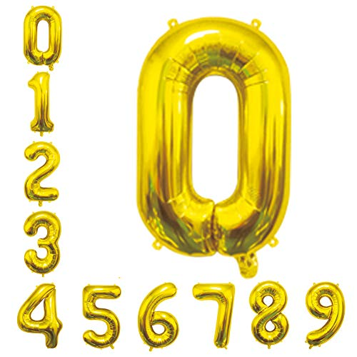 Gold Number Balloons 16inch Birthday Balloons Foil Mylar Digital Balloons for Birthday Engagement Wedding Bridal Shower Anniversary Graduation Celebration Party of 2019 BALLOON (0)