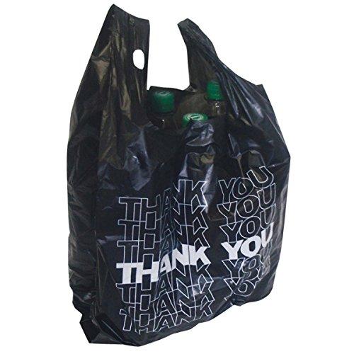 100x Tragetüte schwarz Hemdchentragetasche Tragetasche Plastiktüte THANK YOU 54x28+12cm 24my 15l NASS