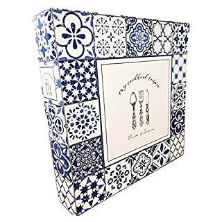 Cookbook Recipe Binder/Organizer, Blue Pattern 3-Ring Binder to Hold All Your Recipes and Recipe Cards, 6 Tabbed Divider Sections, Matching Recipe Cards Included