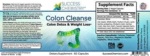 Colon Cleanse Natural Body Detox – Weight Loss Increased Energy Levels. Removes Toxins. Relieve Bloating. Extra Strength. Non-GMO by Success Chemistry