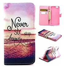 """Lowpricenice(TM) Fashion Magnetic Flip Wallet Case For """"iPhone 6S"""" Elegant Design Faux Leather phone Case Cover (Never Stop)"""