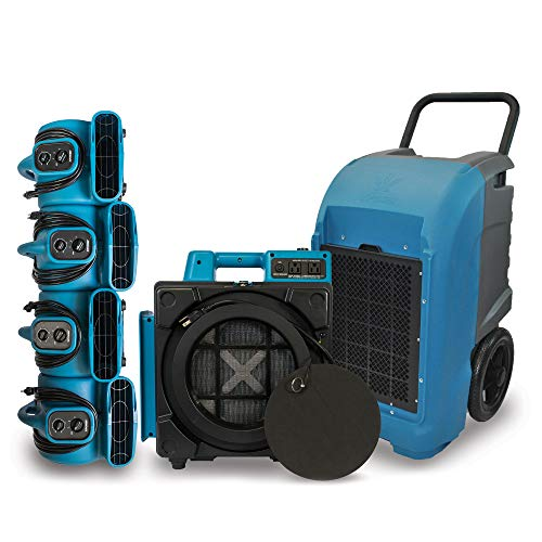XPOWER Flood and Water Damage Restoration All-in-One DIY Pack w/ 4 P-230at Air Movers, XD-125 Commercial Dehumidifier and X-2480A HEPA Air Scrubber - Blue