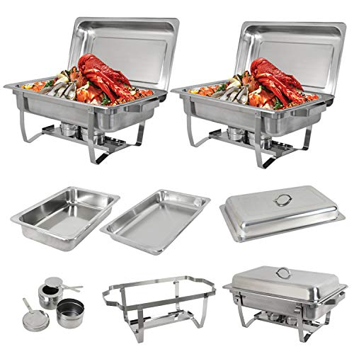 SUPER DEAL 8 Qt Stainless Steel 2 Pack Full Size Chafer Dish w Water Pan, Food Pan, Fuel Holder and Lid For Buffet Weddings Parties Banquets Catering Events 2