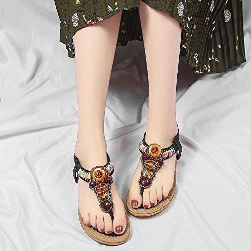 Khaki Cuir En Casual Noir 3cm Femmes Clip Noir Mode Sandales Sandales Plates Bout Rose Chaussures Bas Été Confort À Bohême Plat La De toe Ethnique Talon Bleu Peep 1cm Fille FUx0UY4q