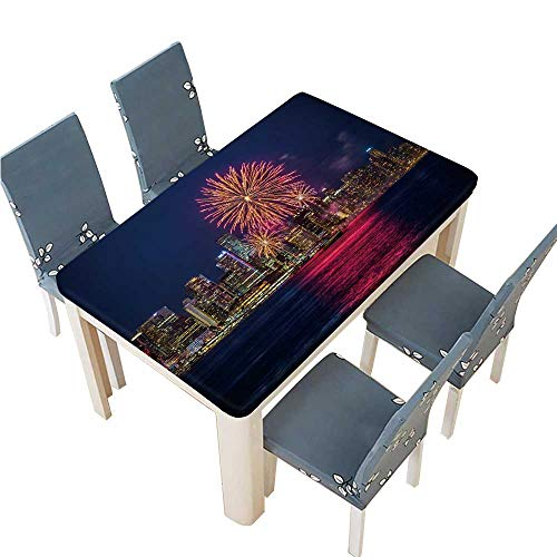 PINAFORE 100% Polyester Luxury Tablecloth Canada Day Fireworks in Vancouver Resistant and Waterproof Tablecloths W57 x L96.5 INCH (Elastic Edge)]()