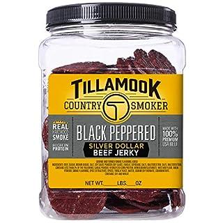 Tillamook Country Smoker Black Peppered Silver Dollar Beef Jerky, Jar, 13 Ounce