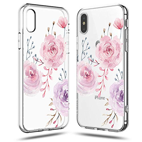 iPhone XR Case,Tropical Roses Floral Flowers Daisy Tulip Blooms Obsession Camellia Women Girls Trendy Pink Cute Pretty Spring Summer Simple Clear TPU Protective Case for Teens Compatible for iPhone XR