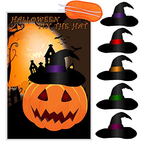 CQI Pin The Witches Hat On The Pumpkin Halloween Games - Pumpkin Witches Hat Halloween Decorations Party Game for Kids - 12 Hats for $<!--$8.99-->
