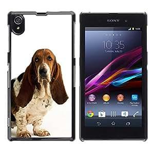 Smartphone Rígido Protección única Imagen Carcasa Funda Tapa Skin Case Para Sony Xperia Z1 L39 C6902 C6903 C6906 C6916 C6943 Basset Hound White Dog Pet Droopy / STRONG
