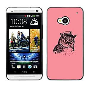 LECELL -- Funda protectora / Cubierta / Piel For HTC One M7 -- Captain Owl --