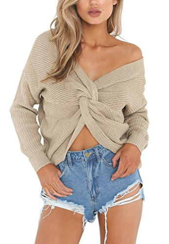 V Croce Scollato Maniche Maglione Maglia Donna Sciolto Invernale Pullover Sweater Elegante Maglieria Aiyue Albicocca Jumper Tops Lunghe wqXRxf