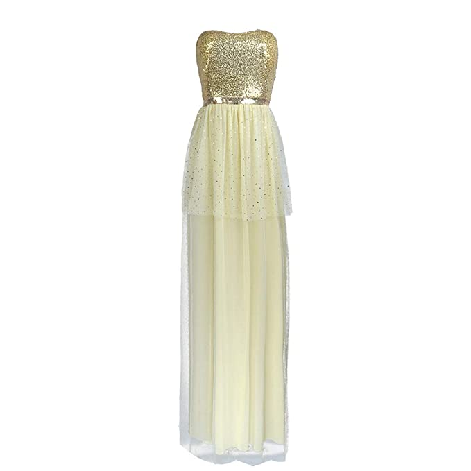 finest selection 143bc 6b8a0 KINLOU Gonna Lunga con Paillettes Oro Donna - Elegant Tube ...