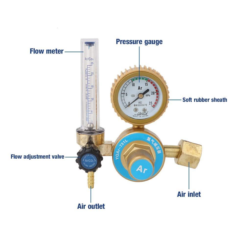 Flow Meter Regulator Delaman Argon CO2 Mig Tig Flow Meter Regulator Pressure Gauge Welder Parts