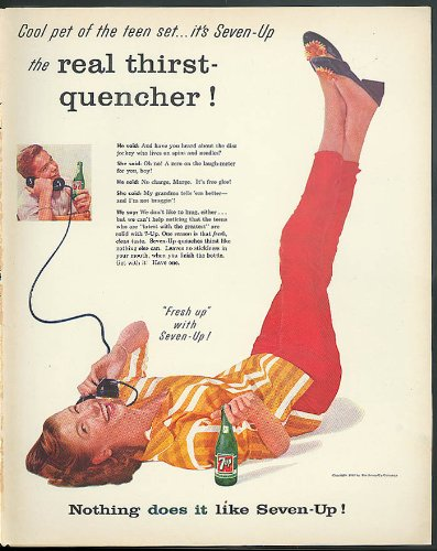 Cool pet of the teen set Seven-Up ad 1957 teenagers on telephone endlessly from The Jumping Frog