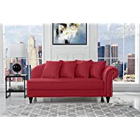 Large Classic Velvet Fabric Living Room Chaise Lounge with Nailhead Trim (Red)