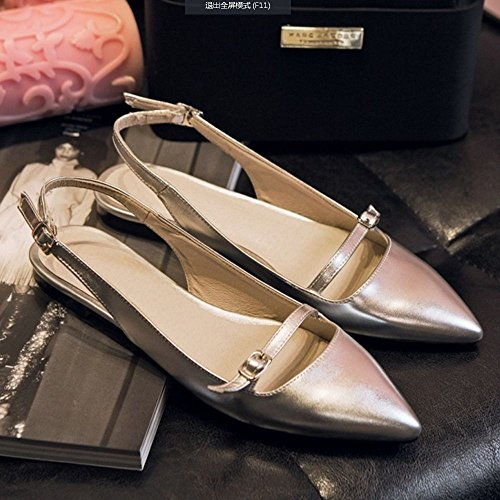 Mode Slingback Pointu Bout Femmes Silver Sandales TAOFFEN aw8H4xqn