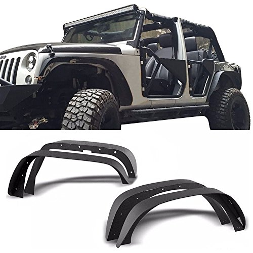 Fender Flares Fits 2007-2017 Jeep Wrangler Jk | Unlimited Textured Steel Flat Style Front Rear Right Left Wheel Cover Protector Vent by IKON MOTORSPORTS | 2008 2009 2010 2011 2012 2013 2014 2015 2016