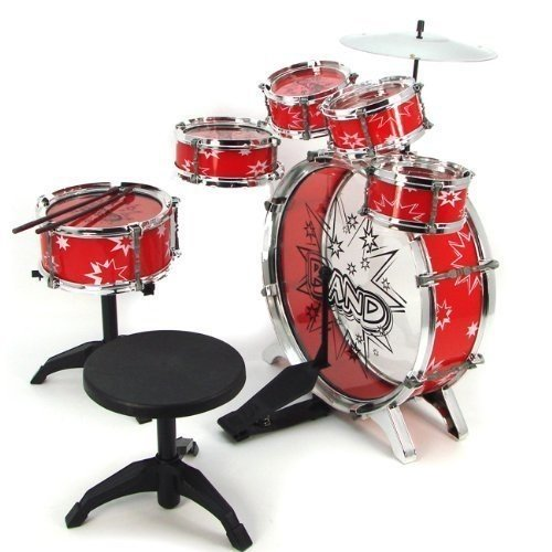 Greenland Talent Star 11Pc Kids Boy Girl Drum Set Musical Instrument Toy Playset Red