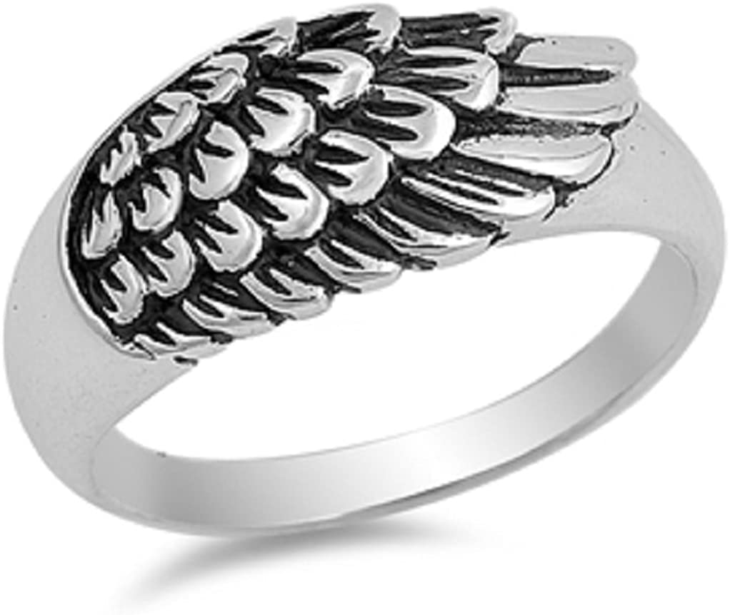 Princess Kylie 925 Sterling Silver Blacked Angel Wing Design Ring