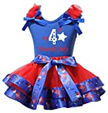 Petitebella My 4th Fourth July Blue Shirt US Hat Red Petal Skirt Set Nb-8y (4-5 Years)