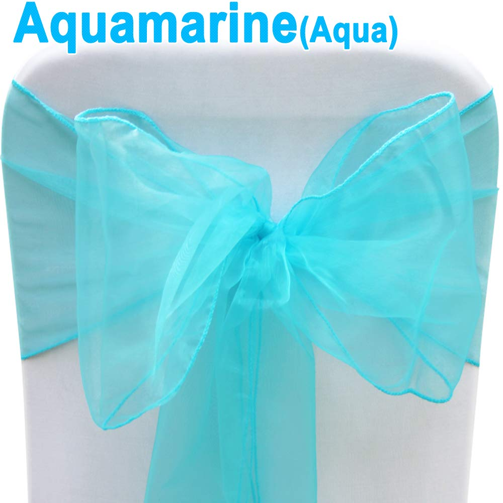 Aqua TtS Organza Sashes Wider Sash Fuller Bows Chair Cover Bows Sash for Wedding Party Birthday Decoration