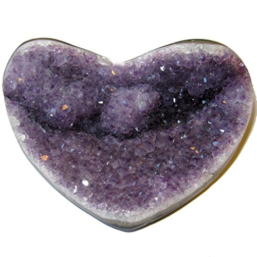 Amethyst Heart 50 Perfect Purple Sitting Cluster Crystal Love Energy Cradle Charger Stone 4.5'' by SatinCrystals