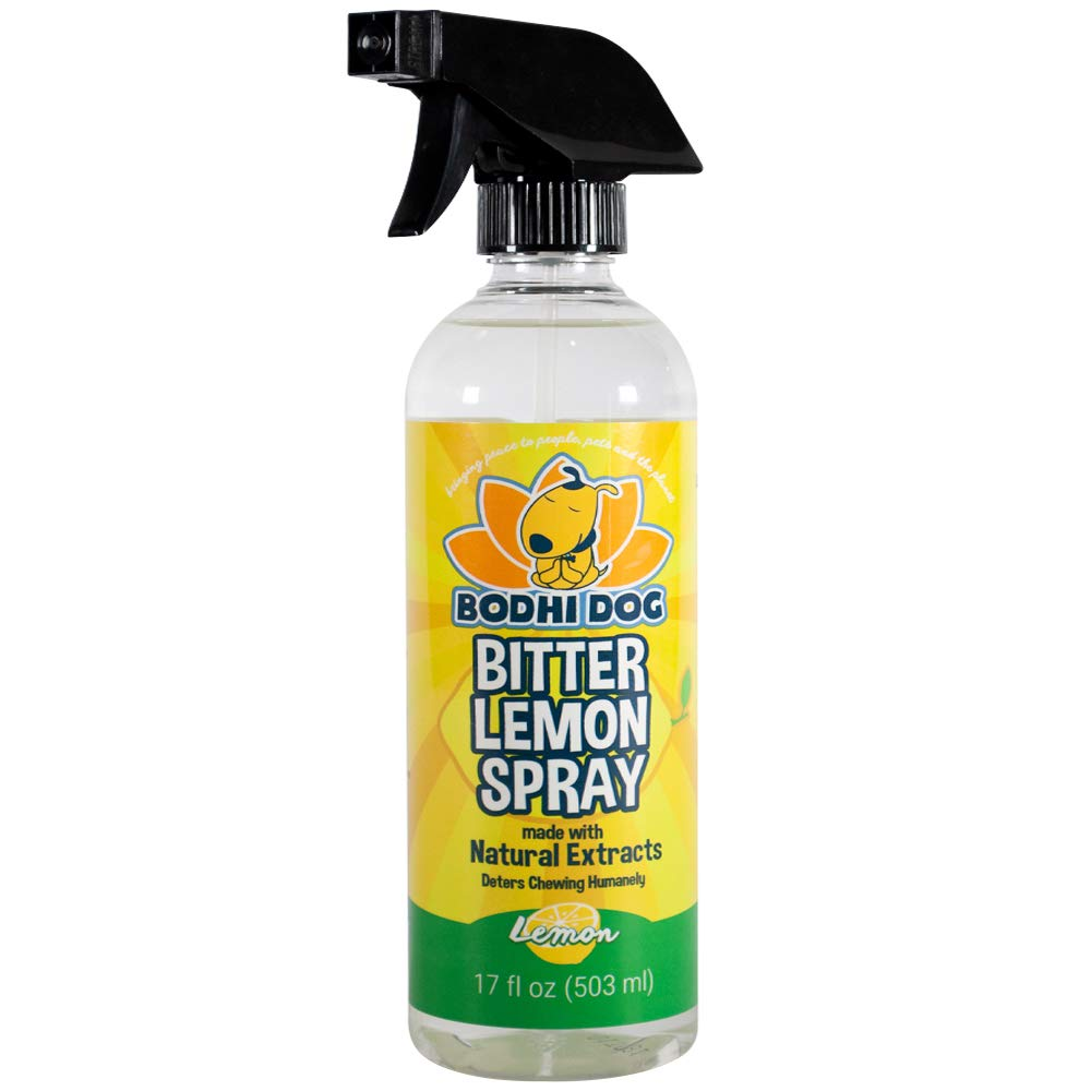 NEW Bitter Lemon Spray | Stop Biting and Chewing for Puppies Older Dogs & Cats | Anti Chew Spray Puppy Kitten Training Treatment | Non Toxic | Professional Quality - Made in USA - 1 Bottle 17oz(503ml) by Bodhi Dog