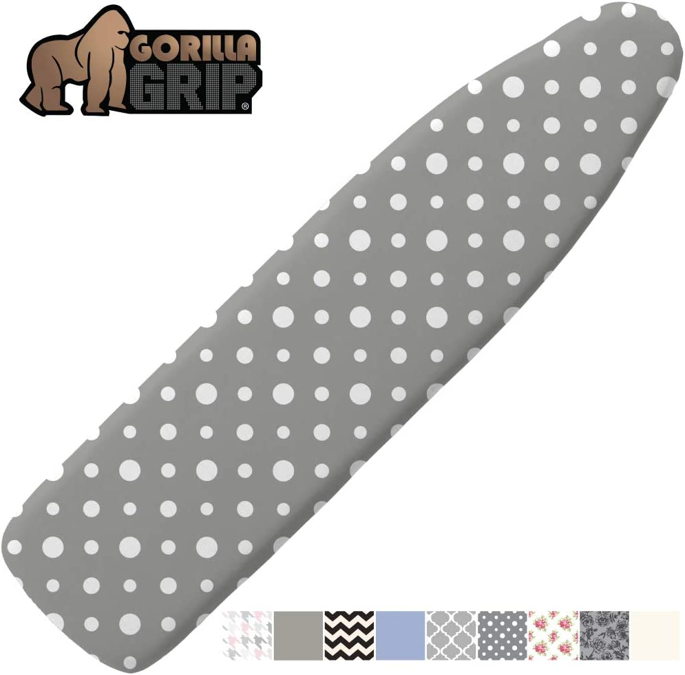 Gorilla Grip Reflective Silicone Ironing Board Cover, 15x54, Fits Large and Standard Boards, Pads Resist Scorching and Staining, Elastic Edge Covers, Thick Padding, No Fasteners Needed, Dots
