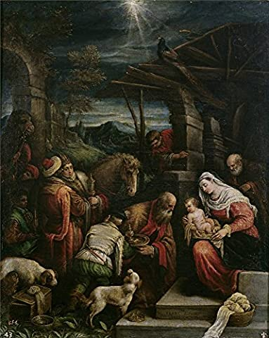 High Quality Polyster Canvas ,the Reproductions Art Decorative Prints On Canvas Of Oil Painting 'Bassano Francesco La Adoracion De Los Reyes Magos Second Half Of 16 Century ', 10 X 13 Inch / 25 X 32 Cm Is Best For Gym Decor And Home Artwork And - Aqua Stripe Wall Sconce