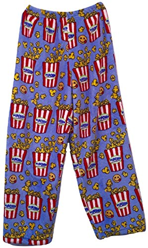 Made With Love and Kisses Boys & Girls Super Soft, Super Cozy Novelty Print Plush Pants (Light Blue Emoji Popcorn, 6-6x) (Popcorn Print)