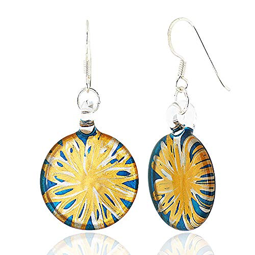 - 925 Sterling Silver Hand Blown Venetian Murano Glass Blue Flower Dangle Hook Earrings