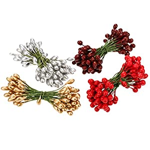 BBTO 400 Pieces Multicolor Artificial Holly Berries Christmas Fake Fruit Berries on 200 Pieces Wire Stems Christmas Tree Decorations Wreath Craft Use Wedding Party Favor 99