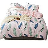 3pc Bedding Set Reversible Duvet Cover & Pillow Sham Twin Feather Deal (Small Image)